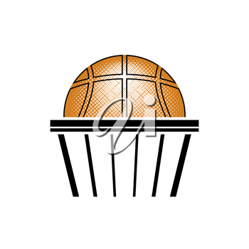 Basketball Orange Ball Icon Isolated on Blue Polygonal Background. Sports Equipment Design Element