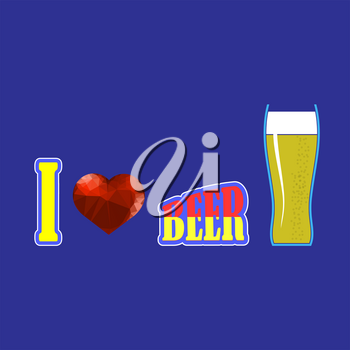 Beer Glass and Red Polygonal Heart on on Blue Background