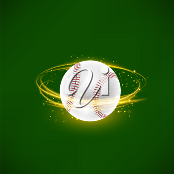 Flying Baseball Ball with Yellow Sparkles Isolated on Green Background