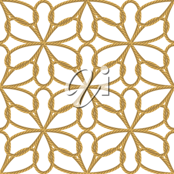 Rope Seamless Pattern with Knots on White Backround