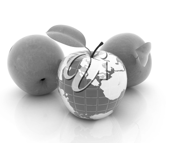 Apple earth and apples on a white background
