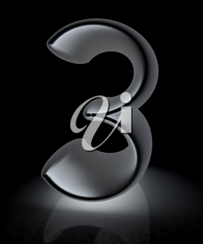 Number 3- three on white background