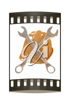 The protective helmet working and crossed wrenches. The image of a skull and bones on a white background. The film strip