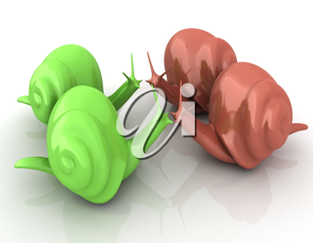 3d fantasy animals, snails on white background