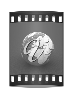 Earth on a green background. The film strip