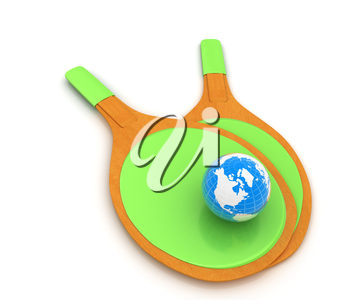 Rackets for playing table tennis and Earth. Global concept. 3D rendering