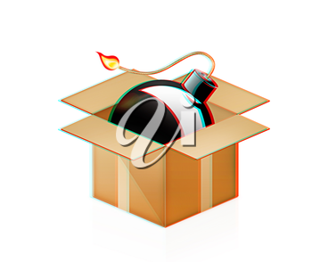black bomb burning in cardboard box on a white background. 3D illustration. Anaglyph. View with red/cyan glasses to see in 3D.