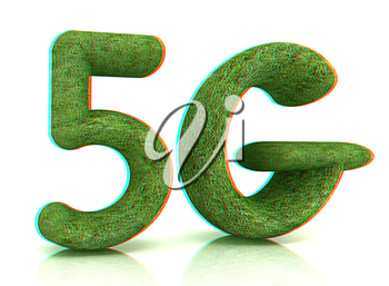 5g modern internet network. 3d text of grass on a white background. 3D illustration. Anaglyph. View with red/cyan glasses to see in 3D.