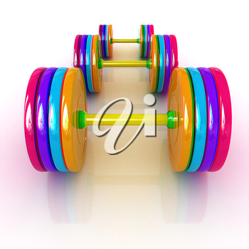 Fitness dumbbells. 3D illustration. Anaglyph. View with red/cyan glasses to see in 3D.
