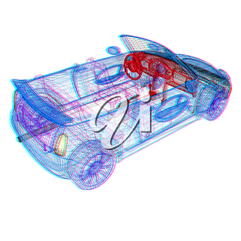 3d model cars . 3D illustration. Anaglyph. View with red/cyan glasses to see in 3D.