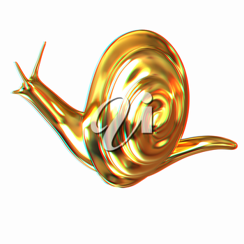 3d fantasy animal, gold snail on white background . 3D illustration. Anaglyph. View with red/cyan glasses to see in 3D.