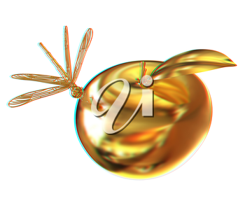 Dragonfly on gold apple. 3D illustration. Anaglyph. View with red/cyan glasses to see in 3D.