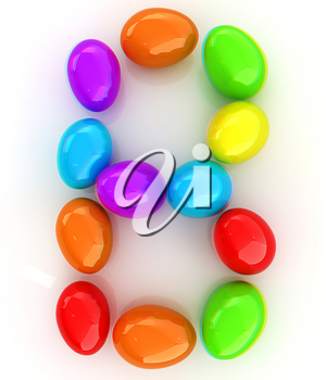 Alphabet from colorful eggs. Letter B. 3D illustration. Anaglyph. View with red/cyan glasses to see in 3D.