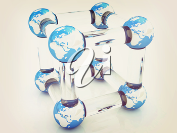 Abstract molecule model of the Earth on a white. 3D illustration. Vintage style.