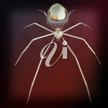 Chrome spider on a white background. 3D illustration. Vintage style.