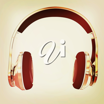 Gold headphones icon on a white background. 3D illustration. Vintage style.