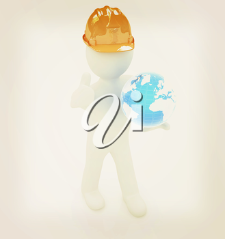 3d man in a hard hat with thumb up presents concept: My company is building worldwide on a white background. 3D illustration. Vintage style.