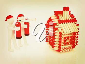 3d man with red fire extinguisher and log houses from matches pattern on white . 3D illustration. Vintage style.
