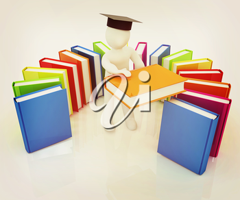 3d white man in a graduation hat with useful books - best gift a student on a white background. 3D illustration. Vintage style.