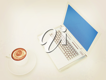 3d cup and a laptop on a white background. 3D illustration. Vintage style.