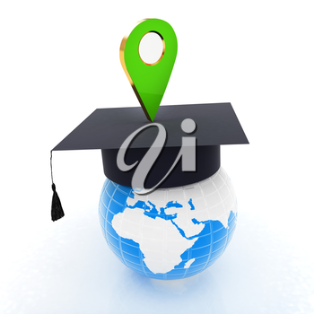 Geo pin with graduation hat on white. School sign, geolocation and navigation. 3d illustration