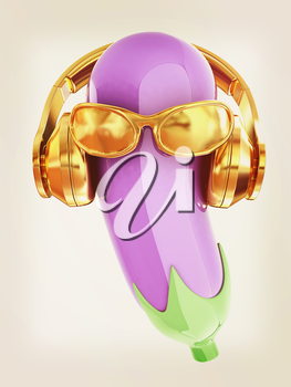 eggplant with sun glass and headphones front face on a white background. Eggplant for farm market, vegetarian salad recipe design. 3d illustration. Vintage style