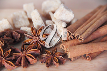 Image of still life with anise, sugar and cinnamon