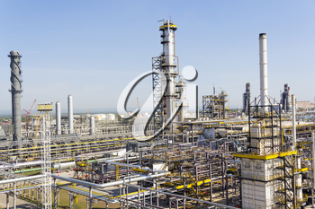 Industrial landscape of refinery at summer day