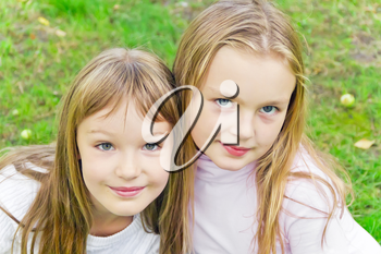 Photo of two cute girls with long hairs