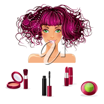 Royalty Free Clipart Image of a Girl With Makeup