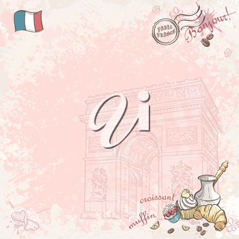 Royalty Free Clipart Image of a French Background With a Flag and Food