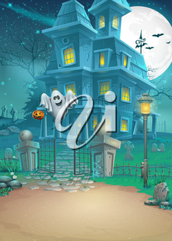 Royalty Free Clipart Image of a Halloween Haunted House
