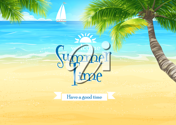 Royalty Free Clipart Image of a Beach Scene With a Sailboat