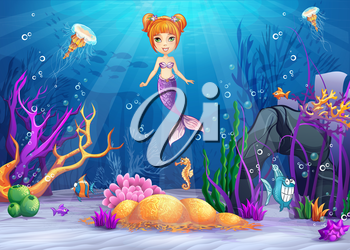Royalty Free Clipart Image of a Mermaid and Underwater Scene