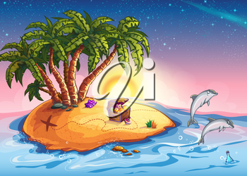 Royalty Free Clipart Image of an Island With a Treasure Chest and Dolphins Leaping Out of the Water