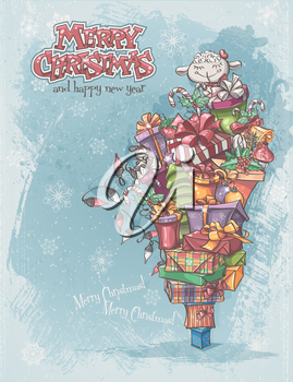 Christmas card with gifts, toys, lamb, christmas bells, boxes, garlands of lights