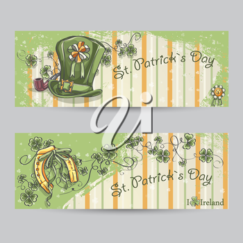 Set of horizontal banners for St. Patrick's Day with a horseshoe and a hat.