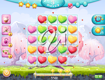 Example of the playing field and gather three in a row and the interface for a computer game on the theme of Valentine's Day