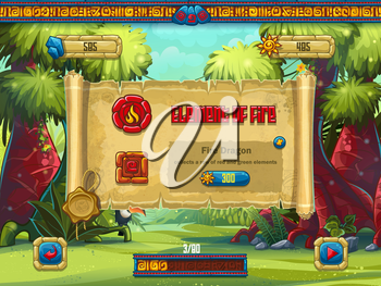 Illustration window decoration sales boosters for a computer game Jungle Treasures