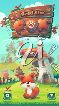 Feed the fox GUI - cartoon stylized vector illustration mobile format window with play, options buttons. For print, create videos or web graphic design, user interface, card, poster.