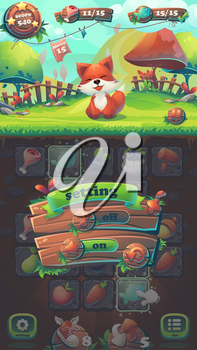 Feed the fox GUI match 3 volume options - cartoon stylized vector illustration mobile format window with options buttons, game items.