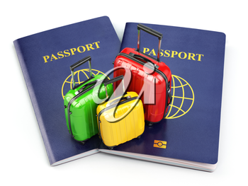 Travel or tourism concept. Passport and suitcases isolated on white. 3d