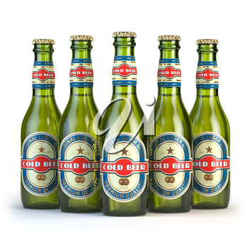 Beer bottles with label cold beer isolated on white. 3d illustration