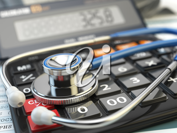 Health care costs concept. Stethoscope and calculator  of medical insurance. Medical  background. 3d illustration.