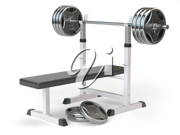 Barbell bench isolated on white. 3d illustration