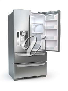 Open fridge freezer. Side by side stainless steel refrigerator  isolated on white background. 3d illustration