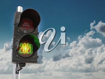 Happy new year 2020. Traffic light with green light 2020  and red 2019 on sky background. 3d illustration