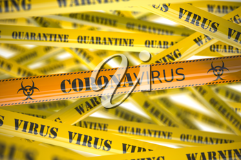 Coronavirus caution on yellow warning tape. Viral epidemyic and apndemic in China. 3d illustration