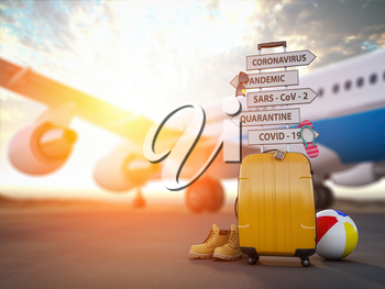 Coronavirus crisis in travel and tourism industry concept.  Airplane, suitcase and arrows with  travel directions closed due to pandemic. 3d illustration