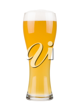 Glass filled with white beer, isolated on white